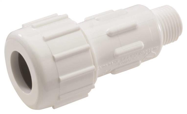 KBI Flo Control ProGuard Tube To Pipe Adapter, 1-1/2 in, Compression X MIPT, SCH 40 T Wall, 150 psi, 73 deg F, PVC