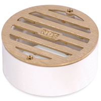 NDS 909B Round Grate, 3 in, For Use With 2 in SCH 40 Pipe and 3 in Sewer and Drain Fittings, PVC, Satin Brass