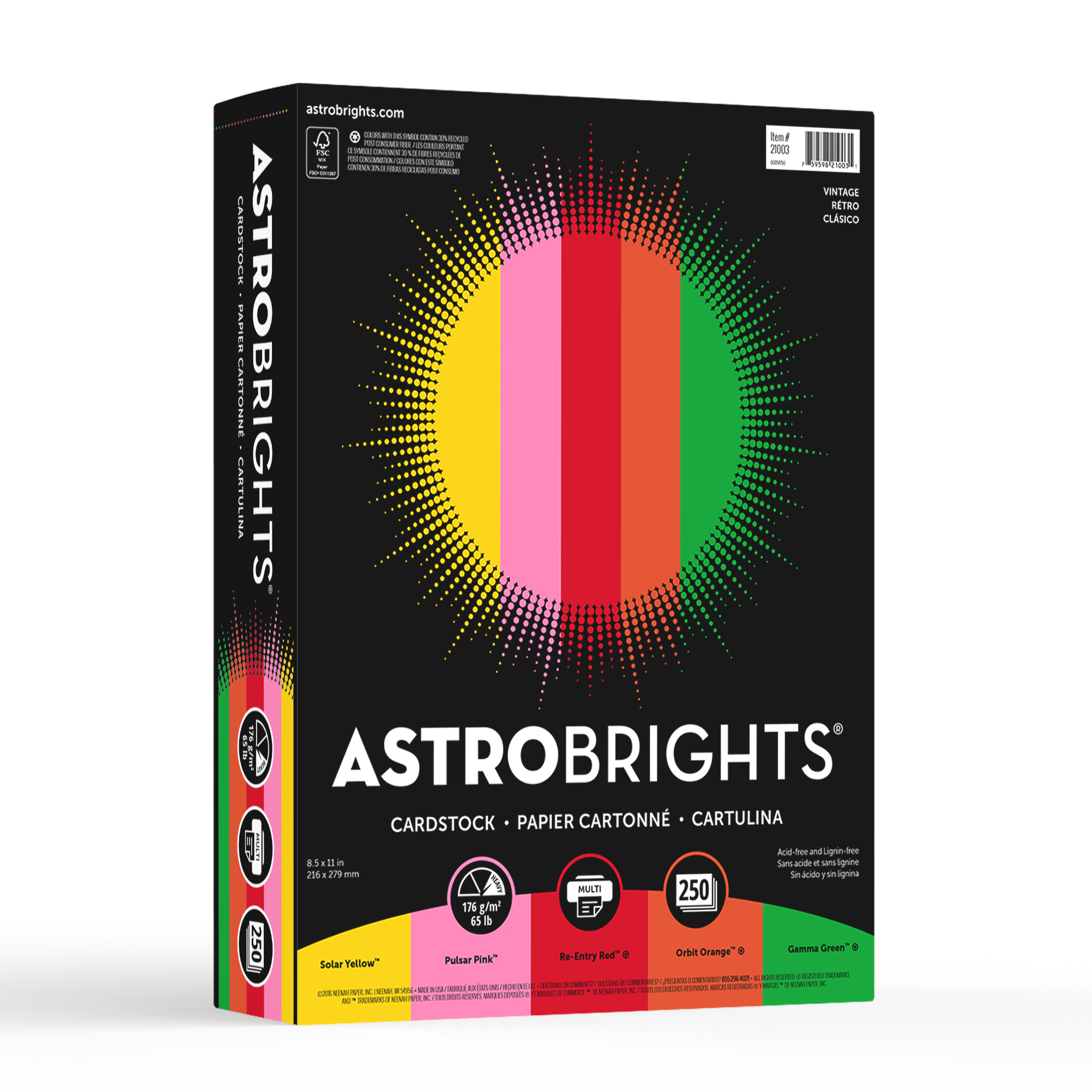 Color Cardstock, 65lb, 8 1/2 x 11, Assorted, 250 Sheets
