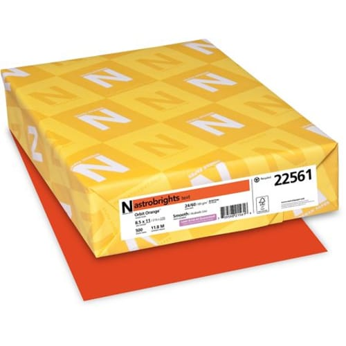 Color Paper, 24lb, 8 1/2 x 11, Orbit Orange, 500 Sheets