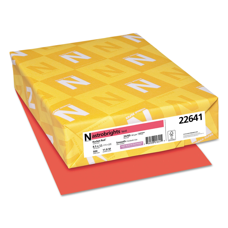 Color Paper, 24lb, 8 1/2 x 11, Rocket Red, 500 Sheets