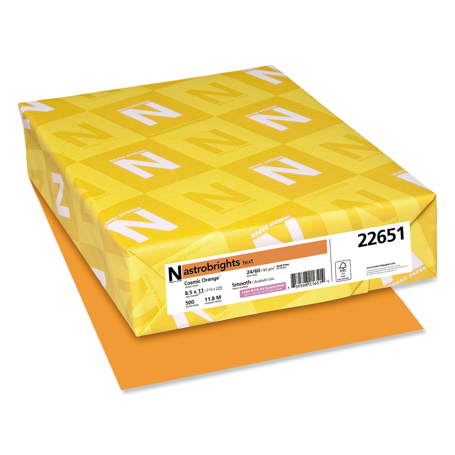 Color Paper, 24lb, 8 1/2 x 11, Cosmic Orange, 500 Sheets