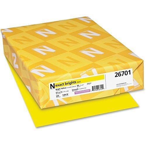 Exact Brights Paper, 8 1/2 x 11, Bright Yellow, 20lb, 500 Sheets