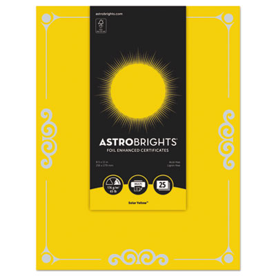 "Foil Enhanced Certificates, 8 1/2"" x 11"", Solar Yellow, 25/Pk"