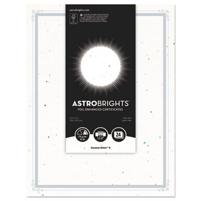 "Foil Enhanced Certificates, 8 1/2"" x 11"", Stardust White, 25/Pk"