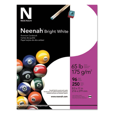 Card Stock, 65lb, 96 Bright, 8 1/2 x 11, White, 250 Sheets