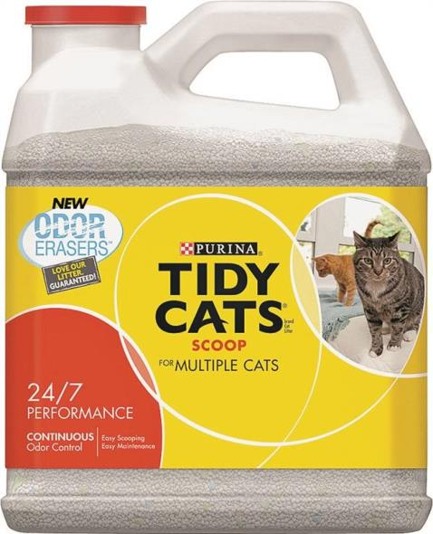 Tidy Cats 7023011614 24/7 Performance Cat Litter, 14 lb Plastic Scoop Jug, Tan/Grey