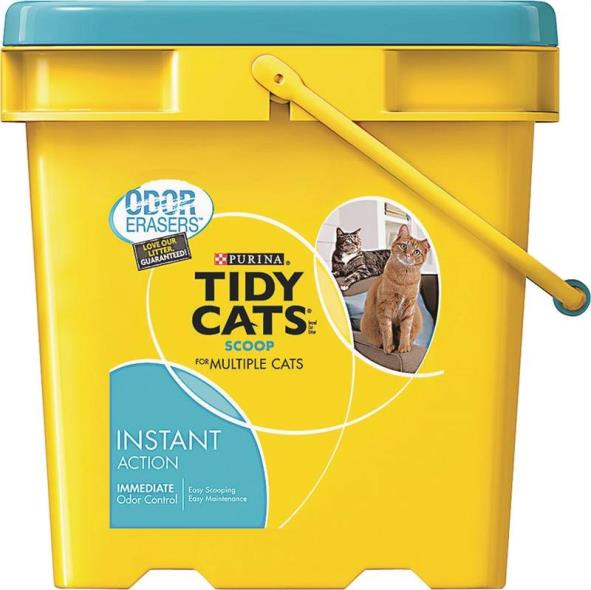 Tidy Cats 7023010785 Instant Action Cat Litter, 35 lb Plastic Scoop Pail, Tan/Grey