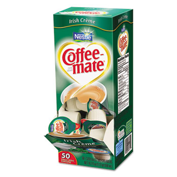 Liquid Coffee Creamer, Irish Cr�me, 0.375 oz Mini Cups, 50/Box, 4 Box/Carton