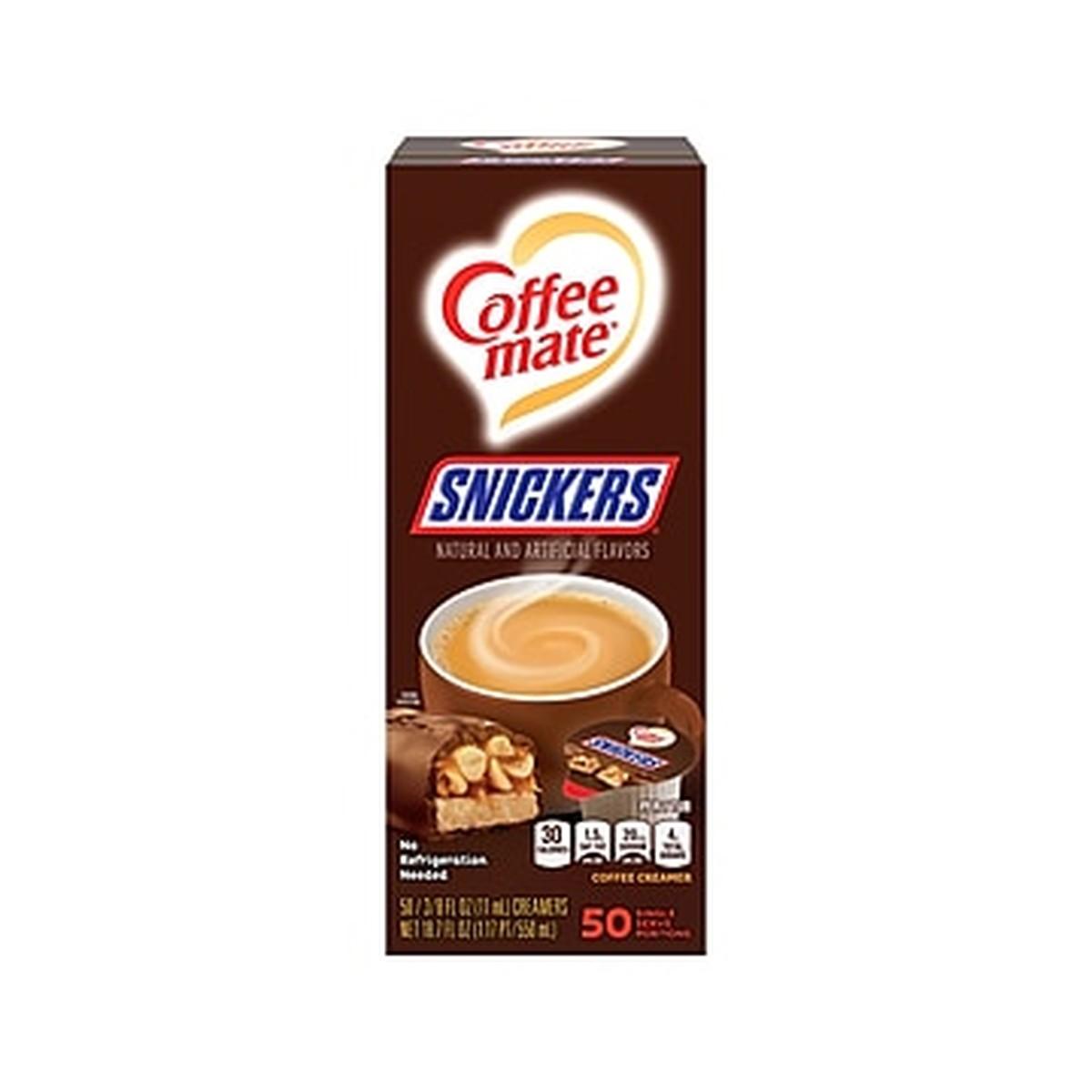 Liquid Coffee Creamer, Snickers, 0.38 oz Mini Cups, 50 Cups/Box