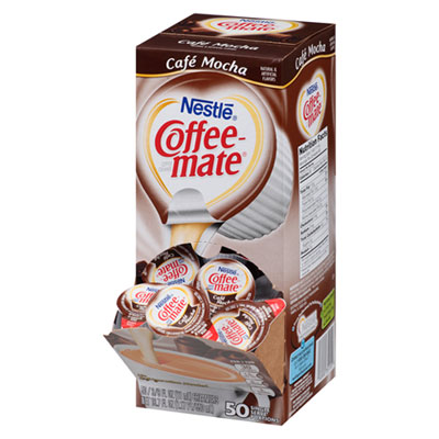 Liquid Coffee Creamer, Caf� Mocha, 0.375 oz Cups, 50/Box