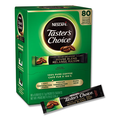 Taster's Choice Stick Pack, Decaf, 0.06oz, 80/Box, 6 Boxes/Carton
