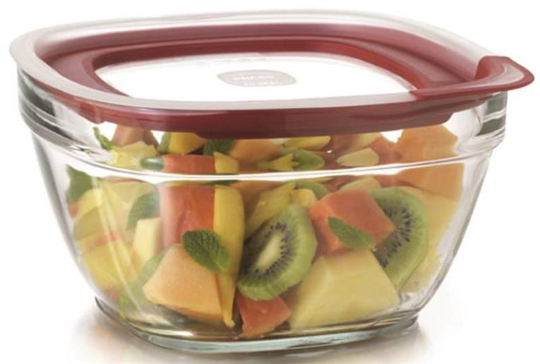Eazy Find Lids 2856007 Food Container, 11.5 Cup, 9-1/2 in L X 9-1/2 in W X 5.188 in H, Glass