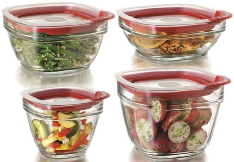 Eazy Find Lids 2856008 Food Container Set, Glass, Crystal Clear