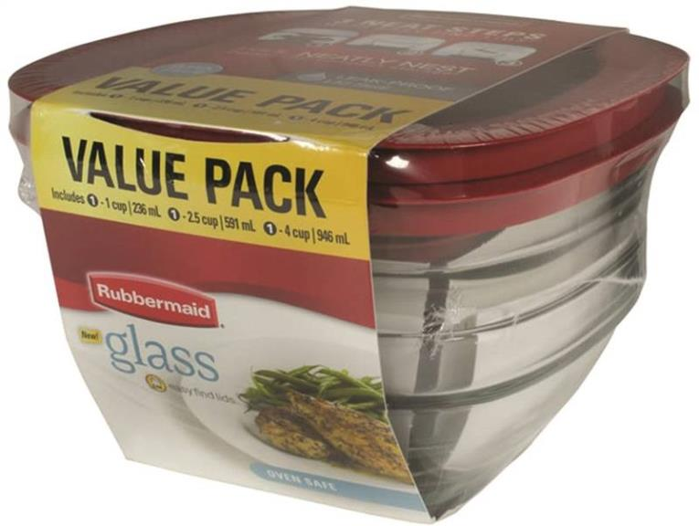 Eazy Find Lids 2856010 Food Container Set, Glass, Crystal Clear