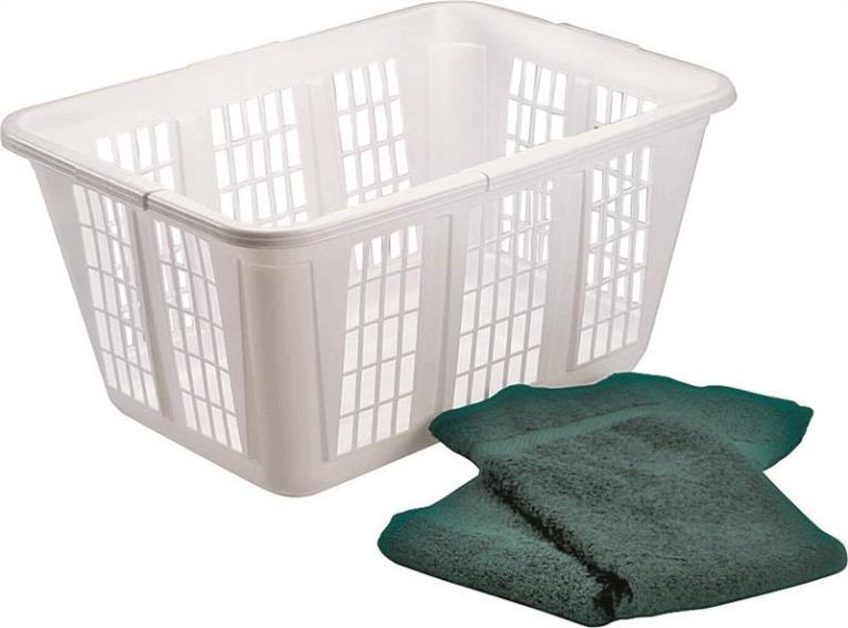 Rubbermaid FG296585WHT Laundry Basket, 1.25 bushel, 16.47 in H x 22-1/2 in W x 10.87 in D