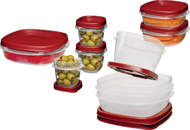 Eazy Find Lids 1777170 Square Food Container Set, Plastic, Clear