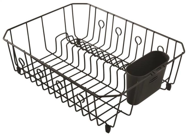 Rubbermaid FG6032ARBLA Large Dish Drainer, 17.62 in L x 13.81 in W x 5.93 in H, Plastic, Black