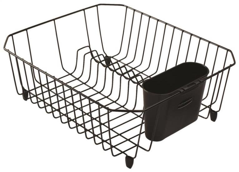 Rubbermaid FG6008ARBLA Small Dish Drainer, 14.31 in L x 12.49 in W x 5.39 in H, Plastic, Black
