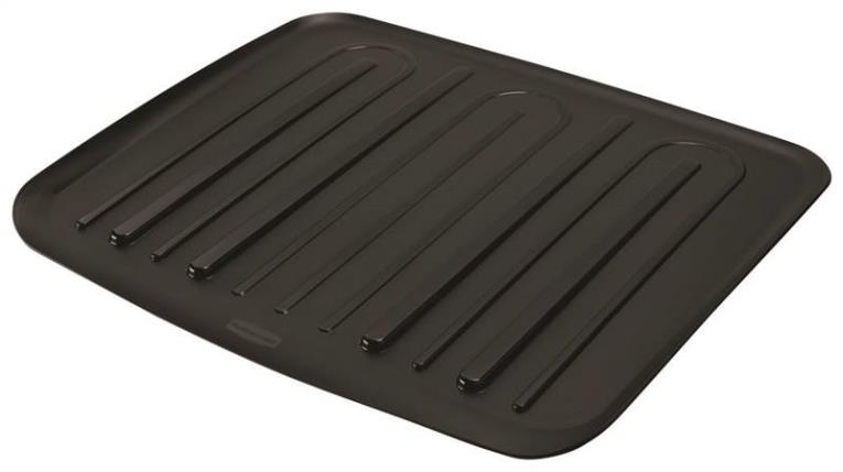 Rubbermaid FG1182MABLA Large Drain Board, 18 in L x 14-3/4 in W, Plastic, Black