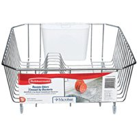 Rubbermaid 6008ARCHROM Twin Sink Small Wire Dish Drainer, 14.31 in L x 12.49 in W x 5.39 in H