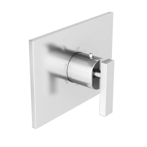 Rectangle Trim Plate Handle For 3/4 Thermostat Polished Chrome