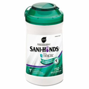 "Hands Instant Sanitizing Wipes with Tencel, 5""w x 6""l, White, 150/Canister"