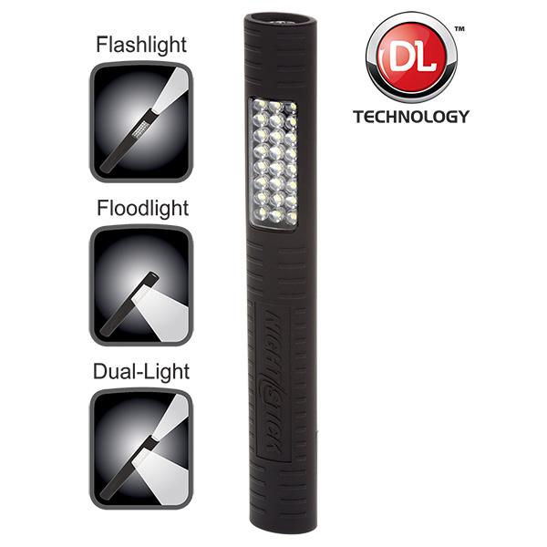 NightStick MultiPurpose DualLight with Magnet  Black  3 AA Batteries