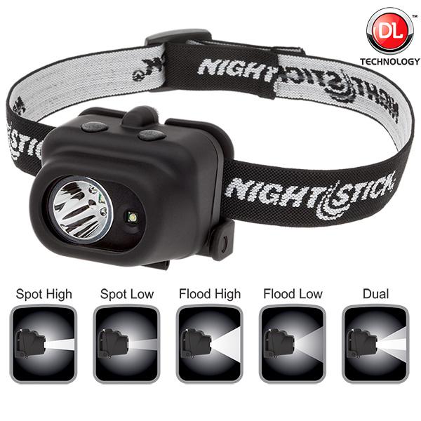 NightStick Multi Function LED Headlamp White Spotlight White Floodlight Black Body