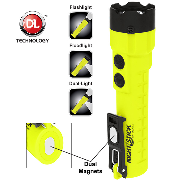 NightStick XSeries Intrinsically Safe DualLight Flashlight with Dual Magnets Green