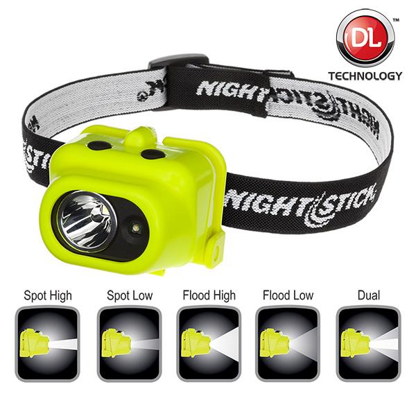 NightStick Intrinsically Safe MultiFunction LED DualLight Headlamp  Green