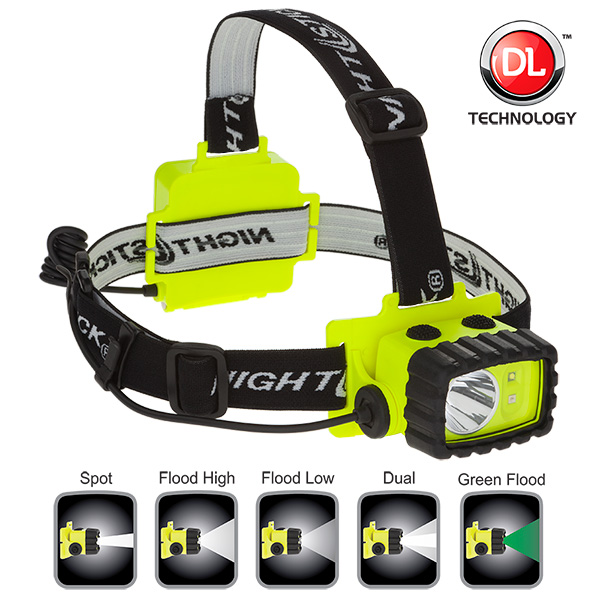 NightStick Intrinsically Safe NonRechargeable LED Headlamp White Green LED's Green