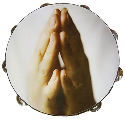 "10"" Praying Hands Double Row Jingles Percussion Tambourine for Church"