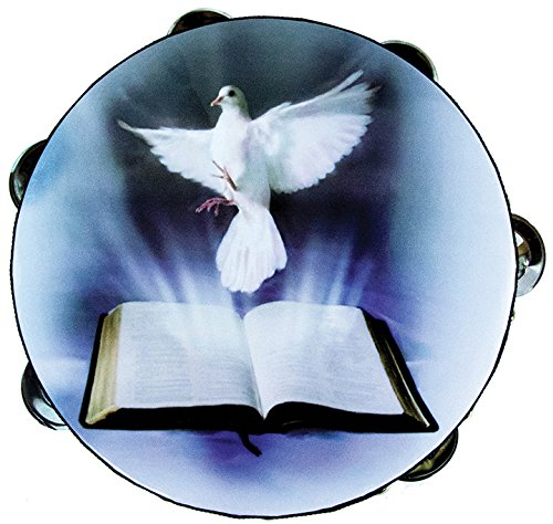 "8"" Dove & Bible Double Row Jingle Percussion Tambourine for Church"