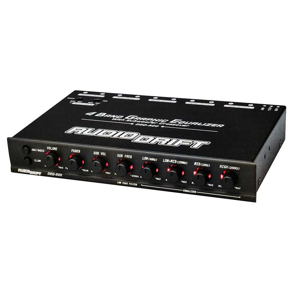 Audiodrift 4 Band Graphic Equalizer with Subwoofer Output Dual Color Illumination 7V Output