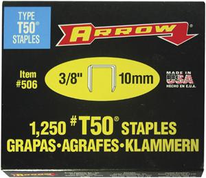 "ARROW FASTENER 50624 T50 Staples, 1,250 pk (3/8"")"