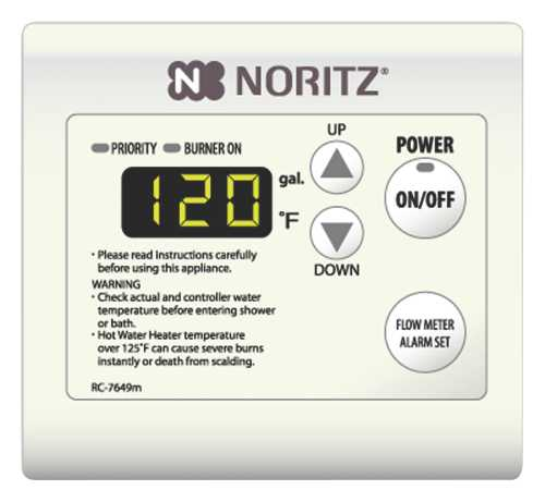 NORITZ� TANKLESS WATER HEATER REMOTE CONTROL