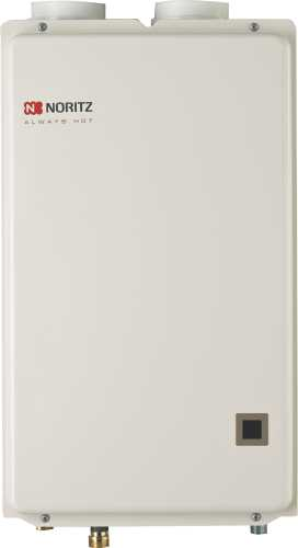 NORITZ� CONDENSING DIRECT VENT NATURAL GAS TANKLESS WATER HEATER, 120,000 BTU, 6.6 GPM, 6.7X13.8X20.5 IN., 39 LBS.