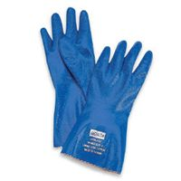 """North+ Size 7 Blue Nitri-Knit+ 12"""" Interlock Knit Lined Supported Nitrile Gloves Rough Finish And Pinked Cuff"""