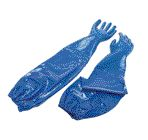 """North+ Size 8 Blue Nitri-Knit+ 26"""" Interlock Knit Lined Supported Nitrile Gloves Rough Finish And Pinked Cuff (Extended Sleeve)"""
