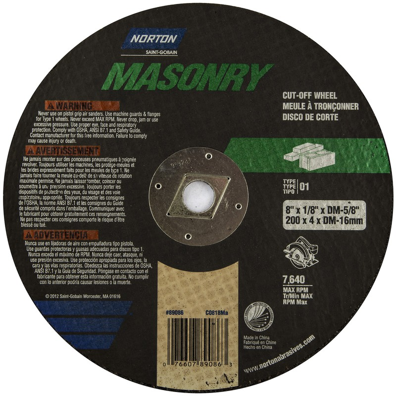 89086 8 IN. MASONRY CUTTING WHEEL