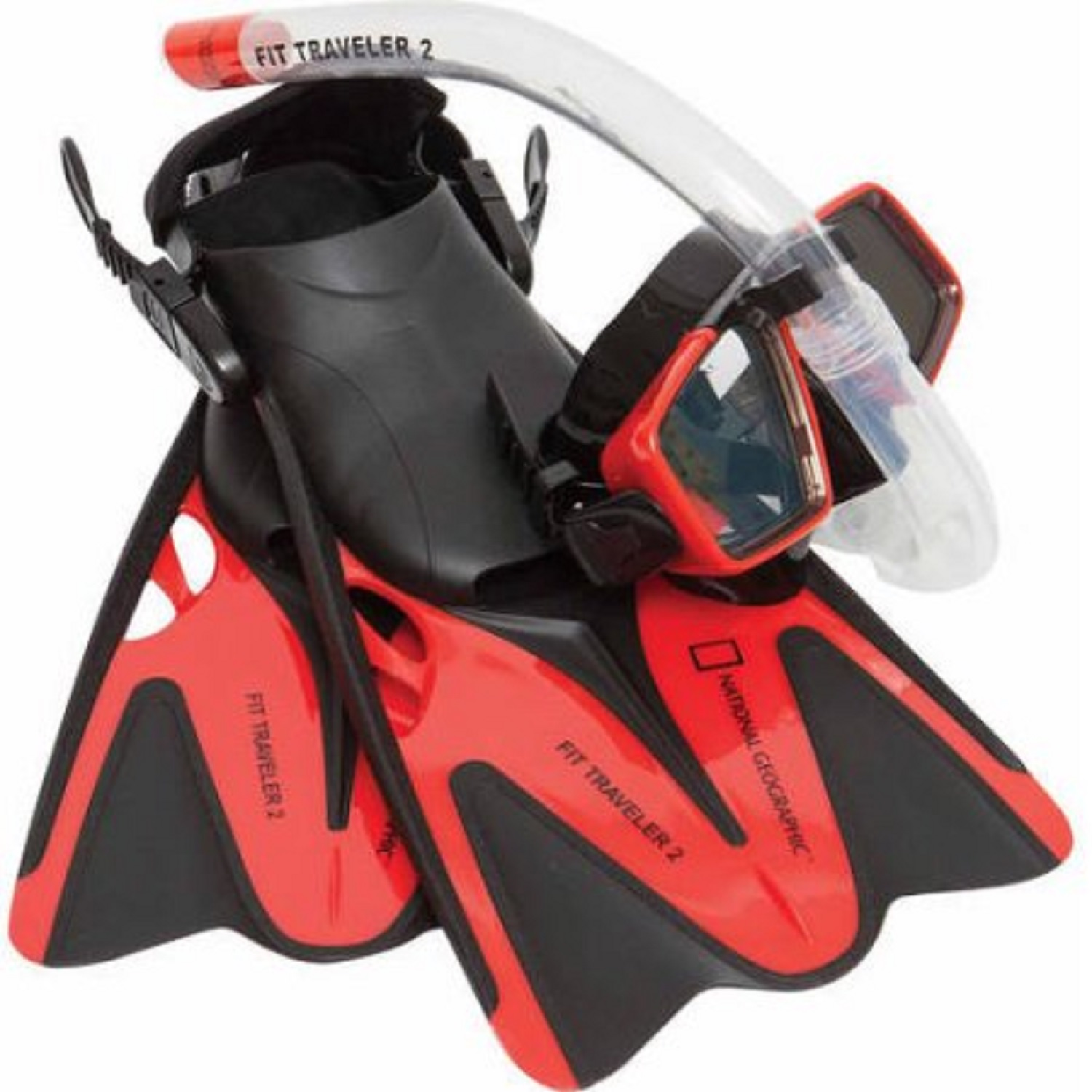 Natl Geographic Snorkeler Fit Traveler2 Combo Red Blk ML/XL