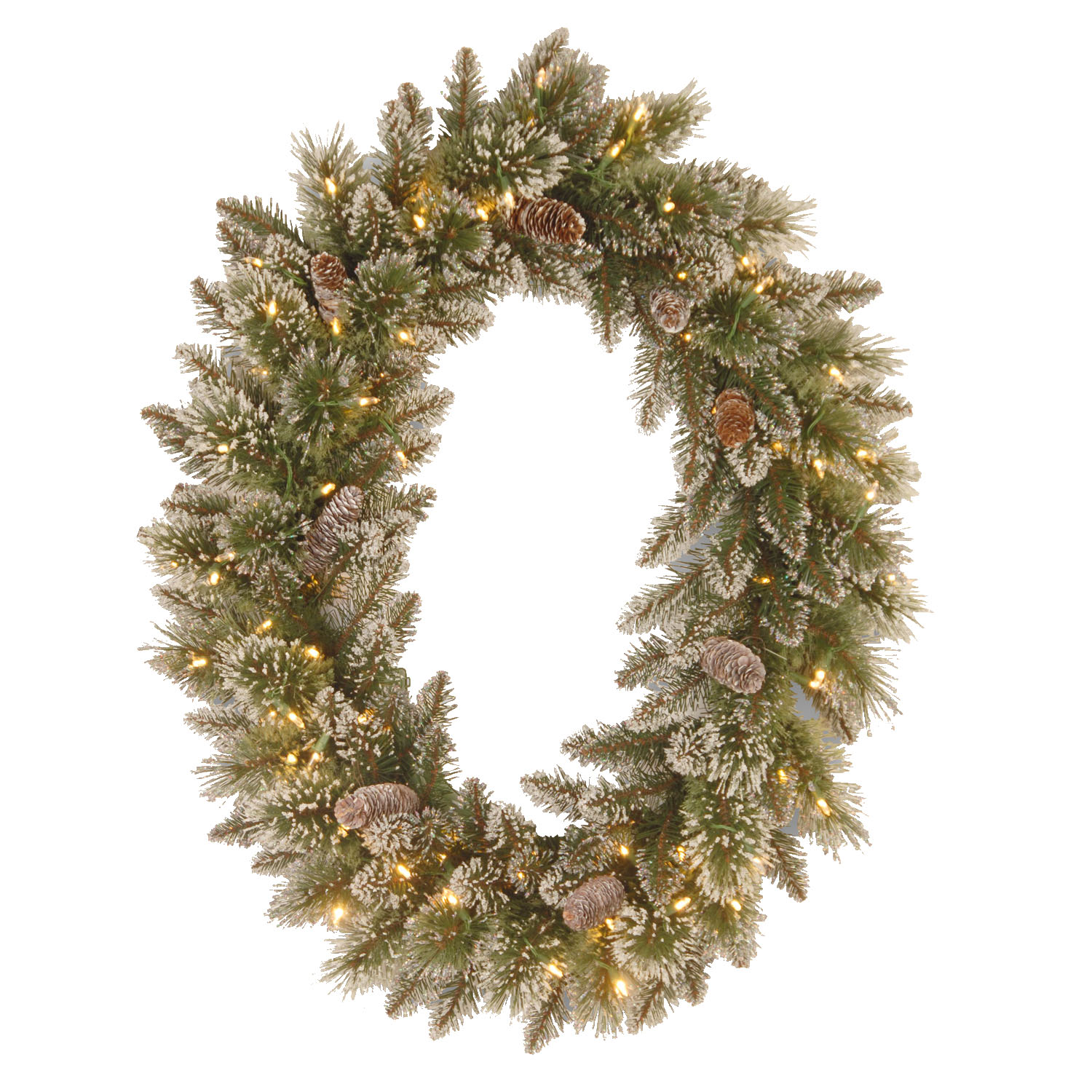 "30"" x 21""Glittery Bristle Pine Oval Wreath with 8 White Tipped Cones and 50 Warm White Battery Operated LED Lights w/Timer"