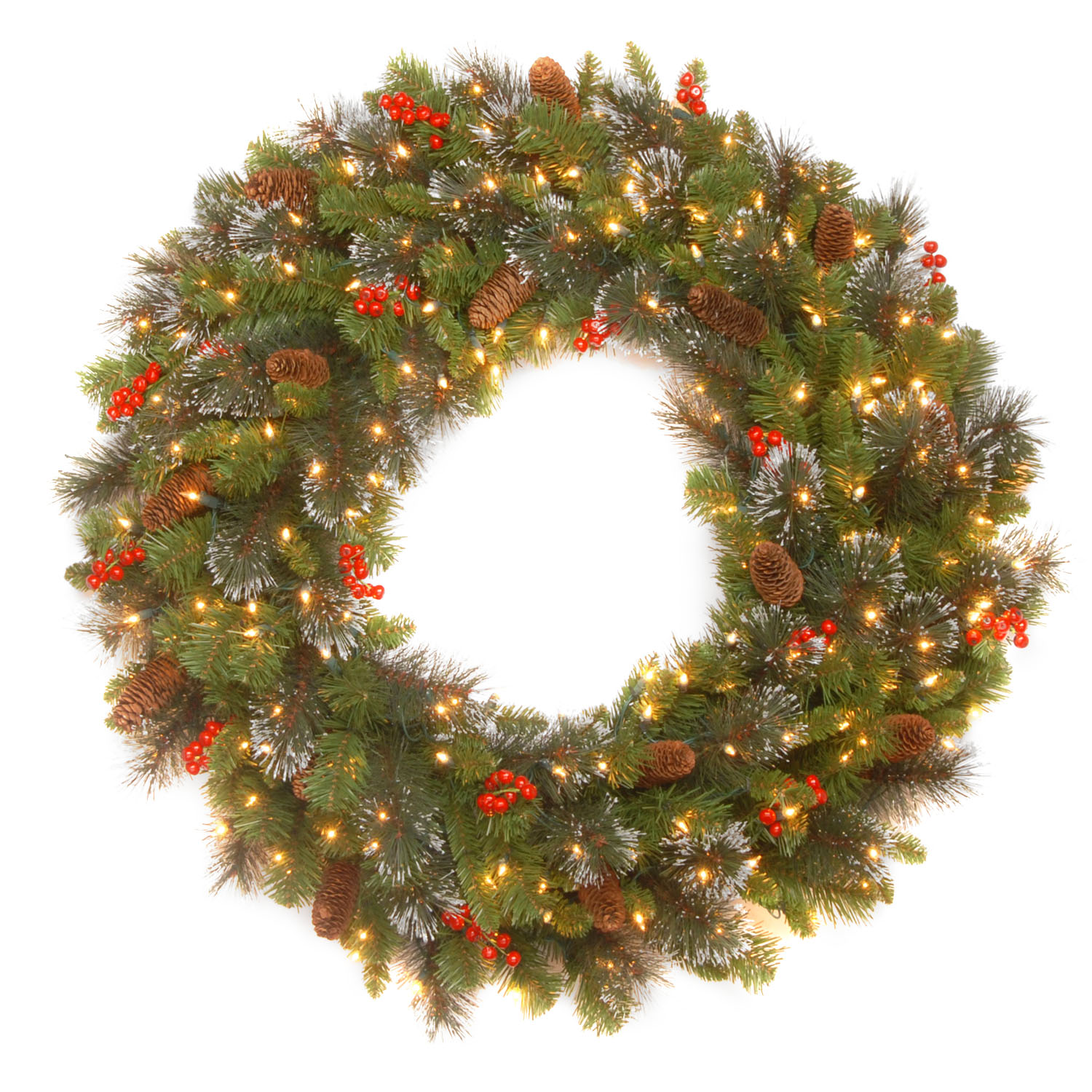 "36"" Crestwood Spruce Wreath with Silver Bristle, Cones, Red Berries and Glitter with 200 Clear Lights"