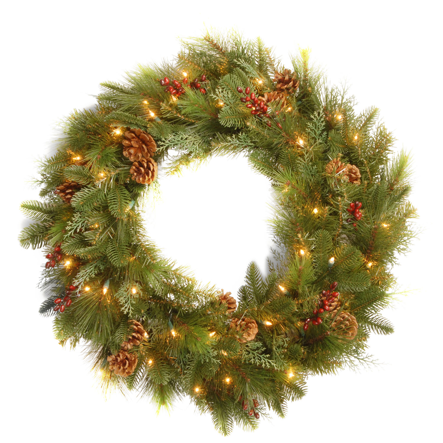 "30"" Decorative Collection Noble Mixed Wreath with Red Berries, Cones and 50 Soft White LED Battery Opreated Lights"