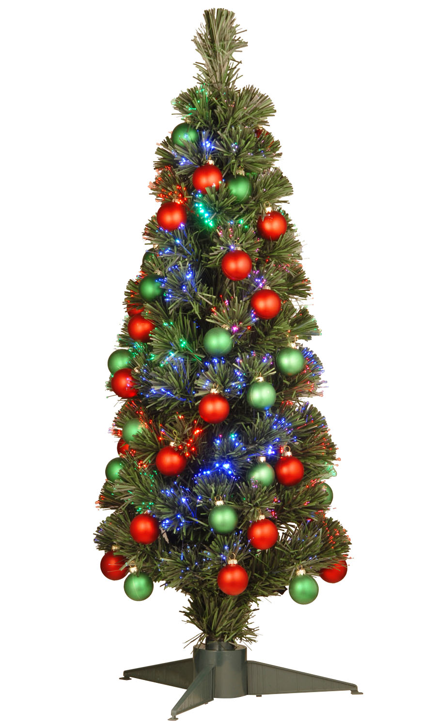 "36"" Fiber Optic Fireworks Green/Red Matte Shiny Ornament Tree in a Green Plastic Stand with LEDs"