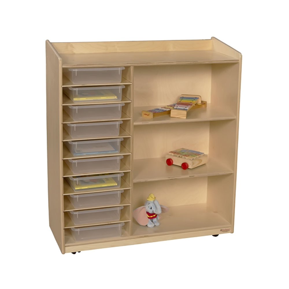 Wood Designs Kids Play Toy Book Plywood Organizer Wd15131 Sensorial Discover Shelving With Translucent Trays