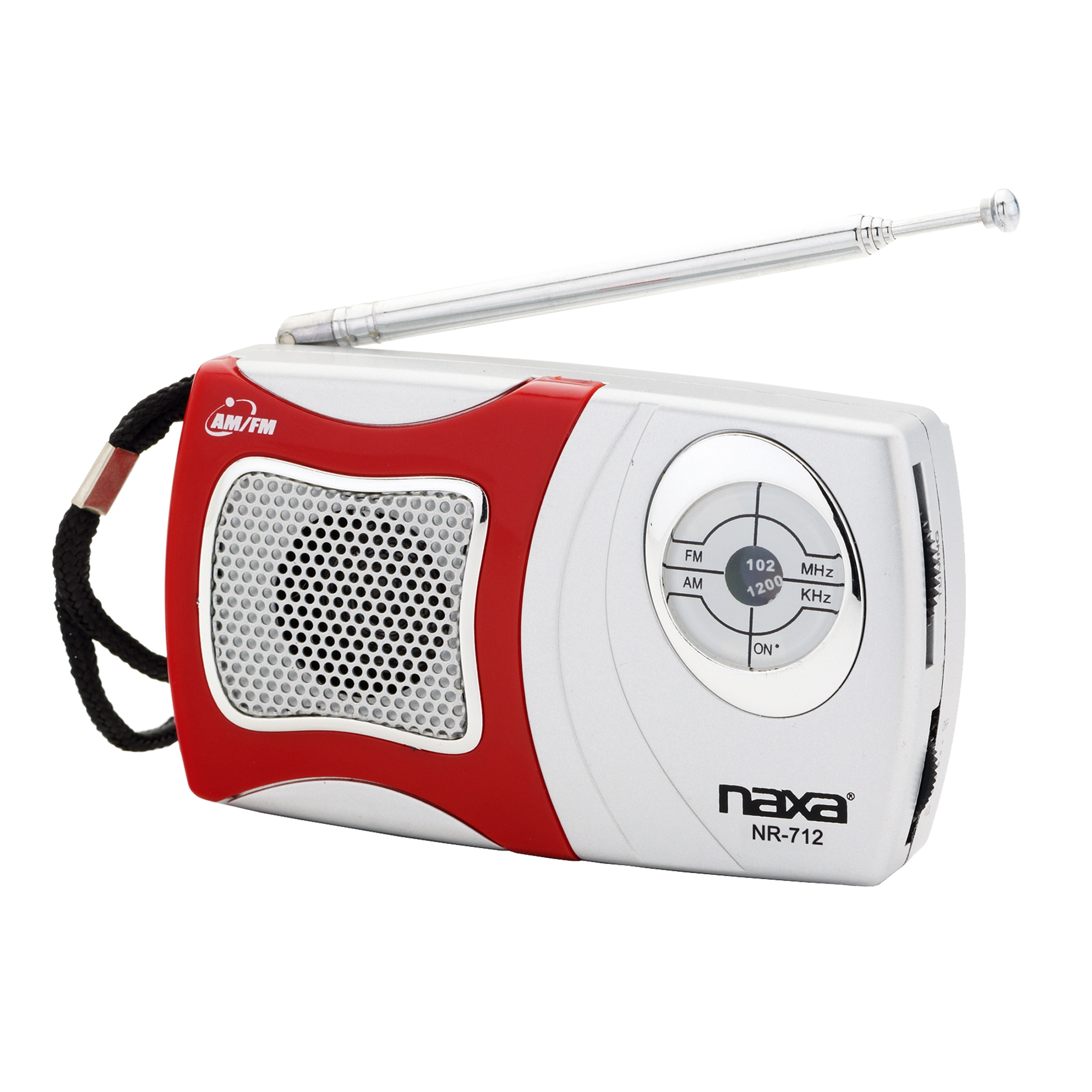Naxa AM/FM Mini Pocket Radio with Built-in Speaker, Red
