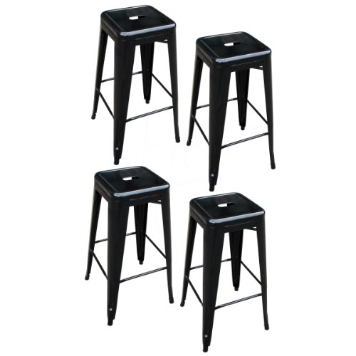 AmeriHome 4 Piece 30 Inch Metal Bar Stool Set - Black