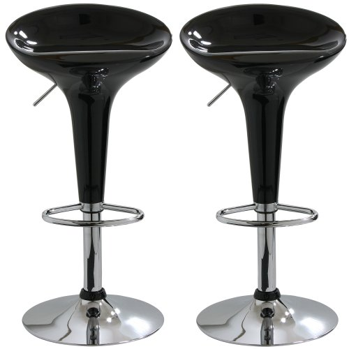 AmeriHome 2 Piece Bar Stool Set - Black